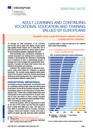 Adult learning and continuing vocational education and training valued by Europeans